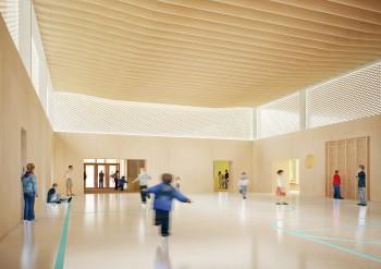 Campus Knokke - interieurperspectief sporthal (vergrote weergave in fotogalerij)