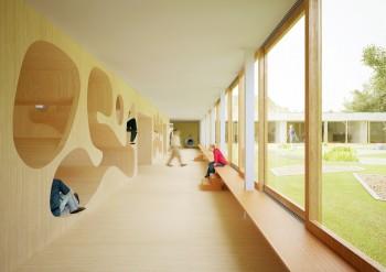 Campus Knokke - perspectief gang (vergrote weergave in fotogalerij)
